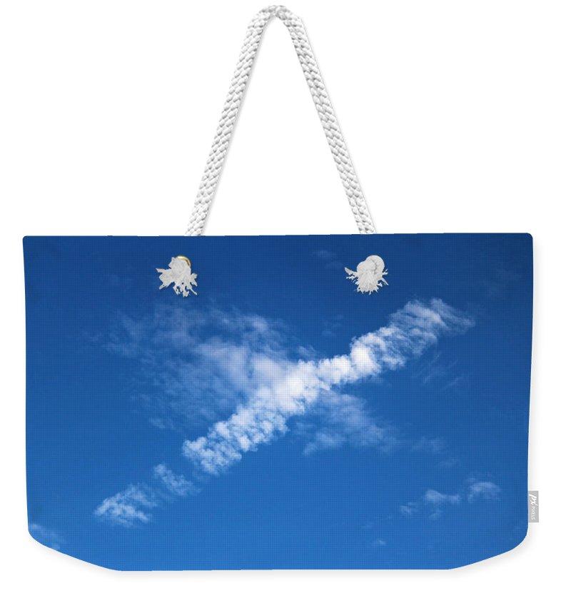 Airplane Weekender Tote Bag featuring the photograph Airplane Cloud by Cynthia Guinn