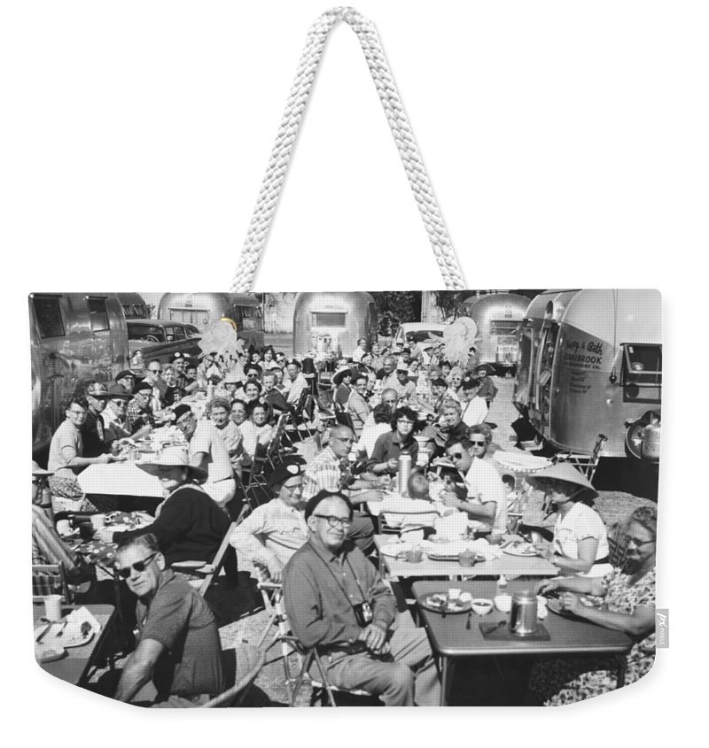 1950's Weekender Tote Bag featuring the photograph Airstream Trailer Gathering by Underwood Archives