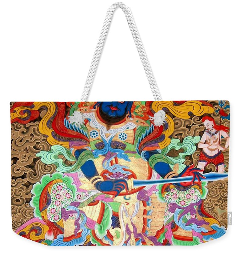 Treasurer Of The Gods Kubera Weekender Tote Bag featuring the painting Aishravnna 5 by Jeelan Clark