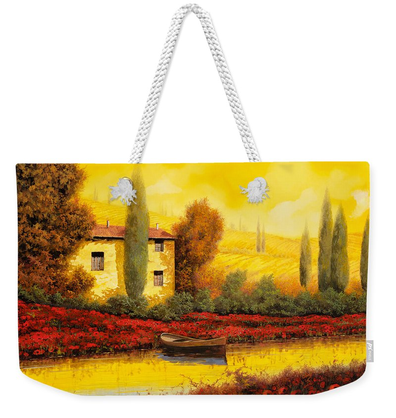 Guido Weekender Tote Bag featuring the painting Al Tramonto Sul Fiume by Guido Borelli