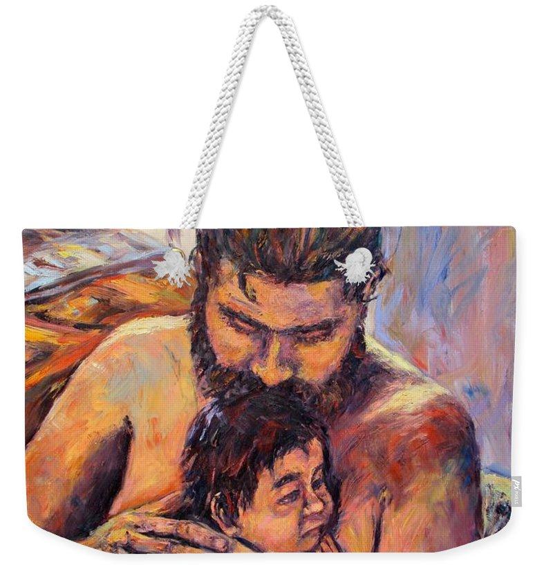 Kendall Kessler Weekender Tote Bag featuring the painting Alan And Clyde by Kendall Kessler