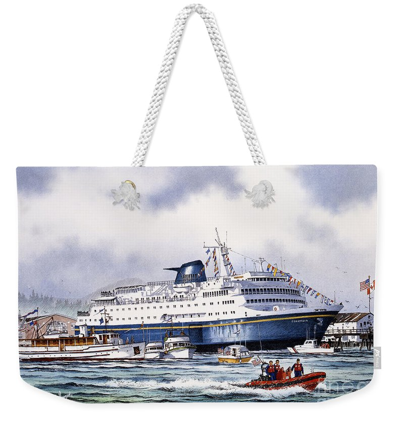 Alaska Ferry Fine Art Print Weekender Tote Bag featuring the painting Alaska Ferry by James Williamson