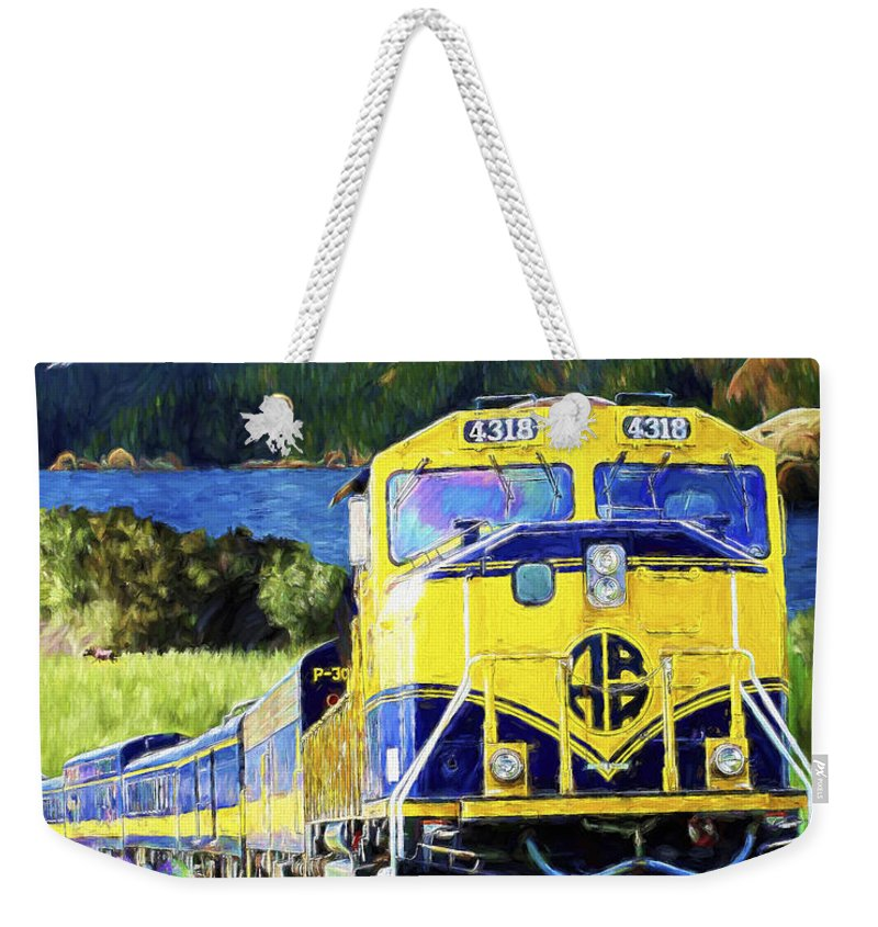 Railroad Weekender Tote Bag featuring the painting Alaska Railroad by David Wagner