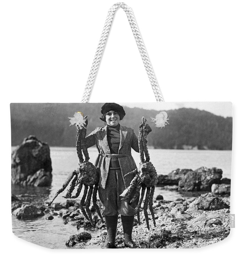 1926 Weekender Tote Bag featuring the photograph Alaskan Crabs by Underwood Archives