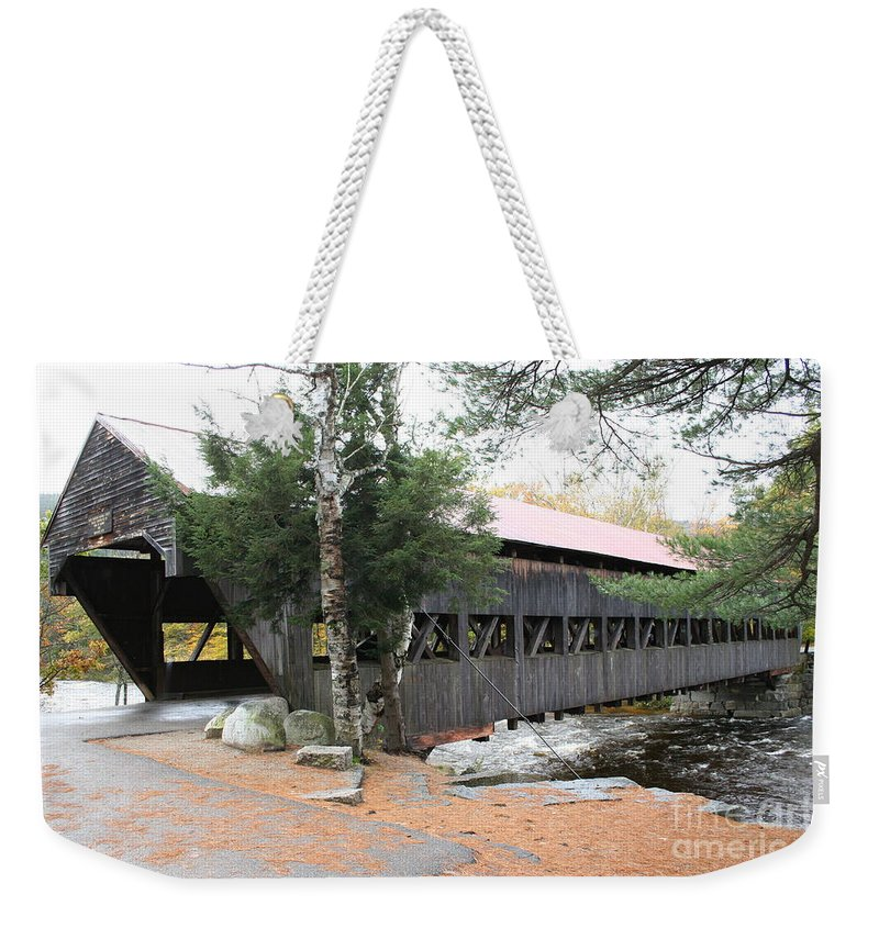Covered Bridge Weekender Tote Bag featuring the photograph Albany Covered Bridge by Christiane Schulze Art And Photography
