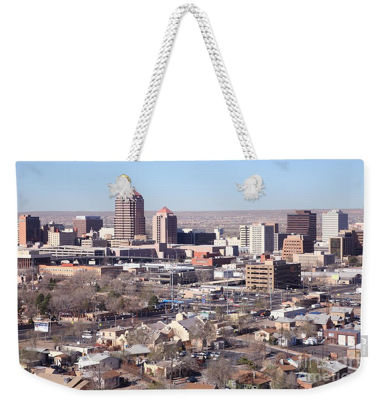 Aerial Weekender Tote Bag featuring the photograph Albuquerque Skyline by Bill Cobb