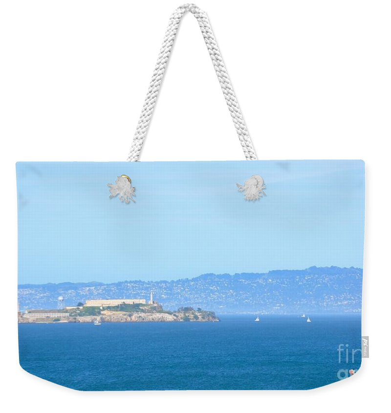 Blue Weekender Tote Bag featuring the photograph Alcatraz by Christina McKinney