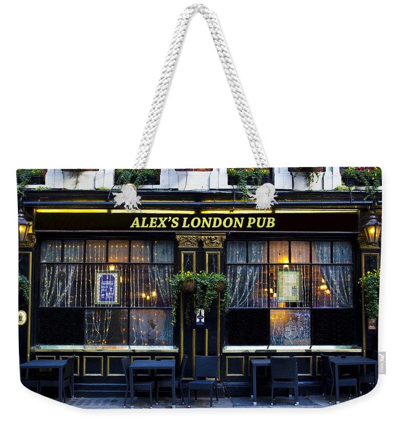 Alex Weekender Tote Bag featuring the photograph Alex's London Pub by David Pyatt