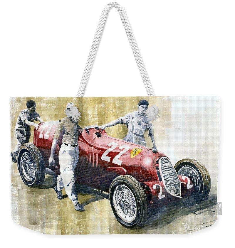 Watercolor Weekender Tote Bag featuring the painting Alfa Romeo 12c-36 Tazio Nuvolari Coppa Ciano Race 1937 by Yuriy Shevchuk