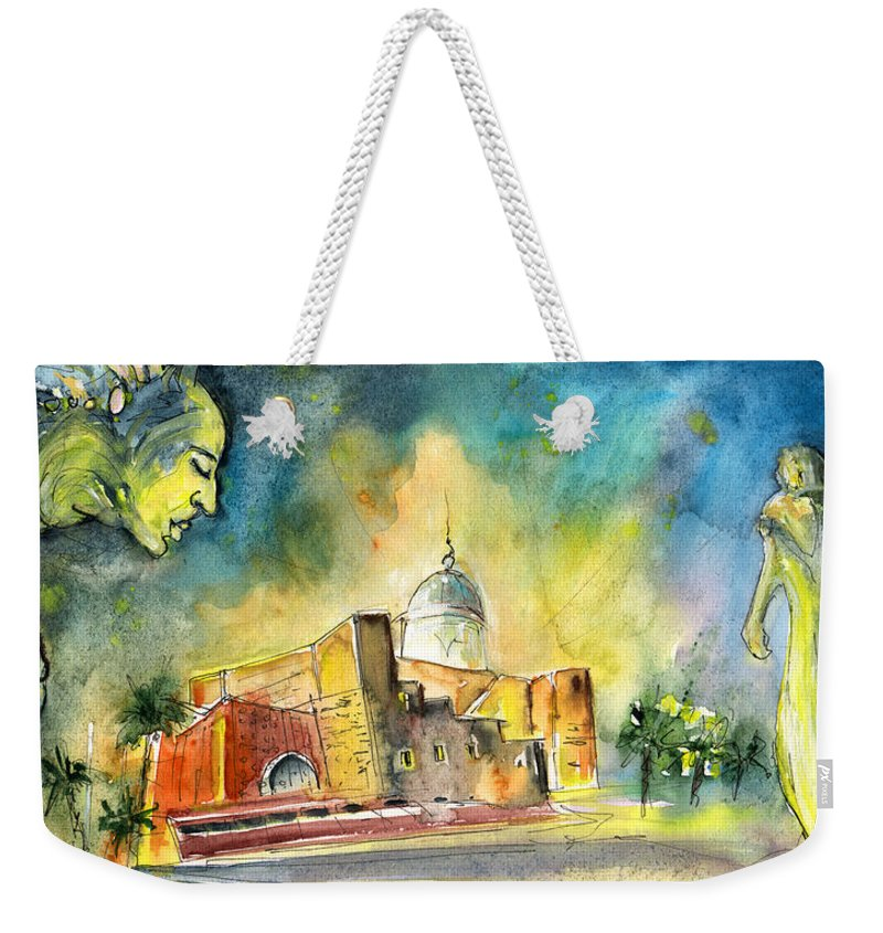 Travel Weekender Tote Bag featuring the painting Alfredo Kraus Auditorium In Las Palmas De Gran Canaria by Miki De Goodaboom
