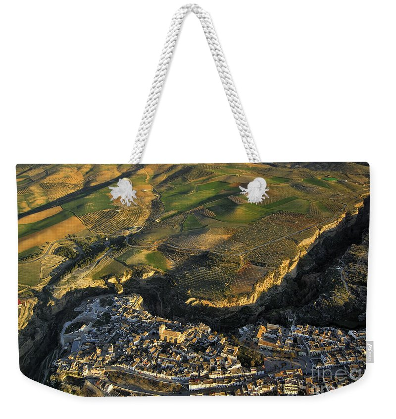 Architecture Weekender Tote Bag featuring the photograph Alhama De Granada From The Air by Guido Montanes Castillo