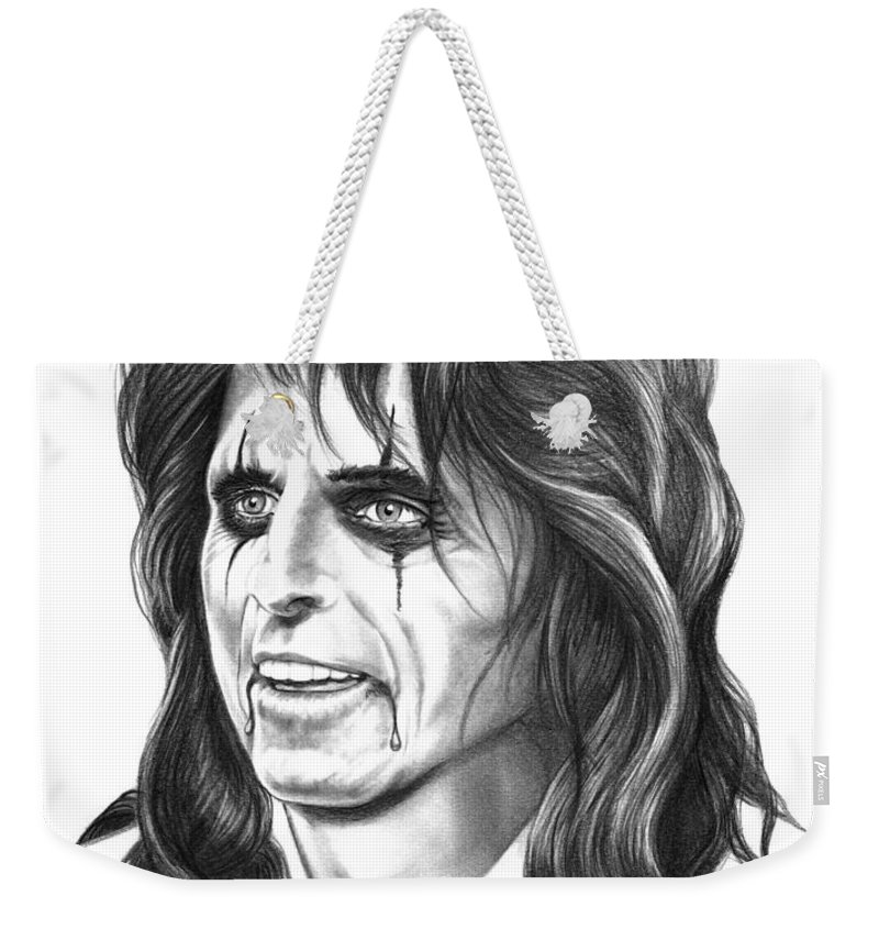 Pencil Weekender Tote Bag featuring the drawing Alice Cooper by Murphy Elliott