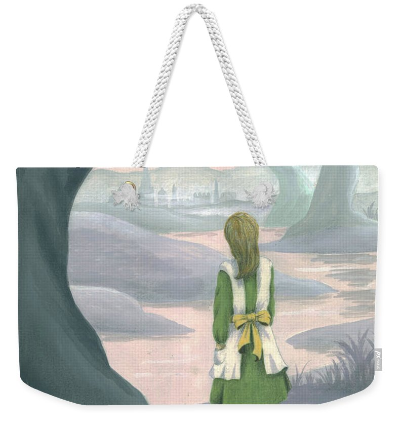 Alice In Wonderland Weekender Tote Bag featuring the painting Alice by Suzette Broad