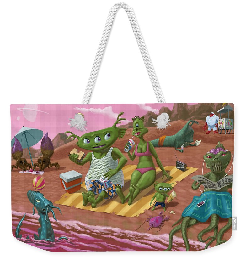 Beach Weekender Tote Bag featuring the painting Alien Beach Vacation by Martin Davey