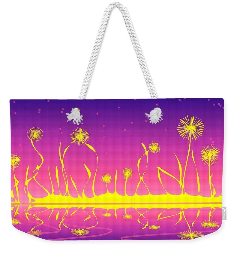 Malakhova Weekender Tote Bag featuring the digital art Alien Fire Flowers by Anastasiya Malakhova