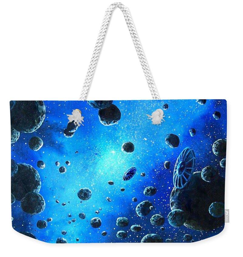 (space Ships) Weekender Tote Bag featuring the painting Alien Flying Saucers by Murphy Elliott