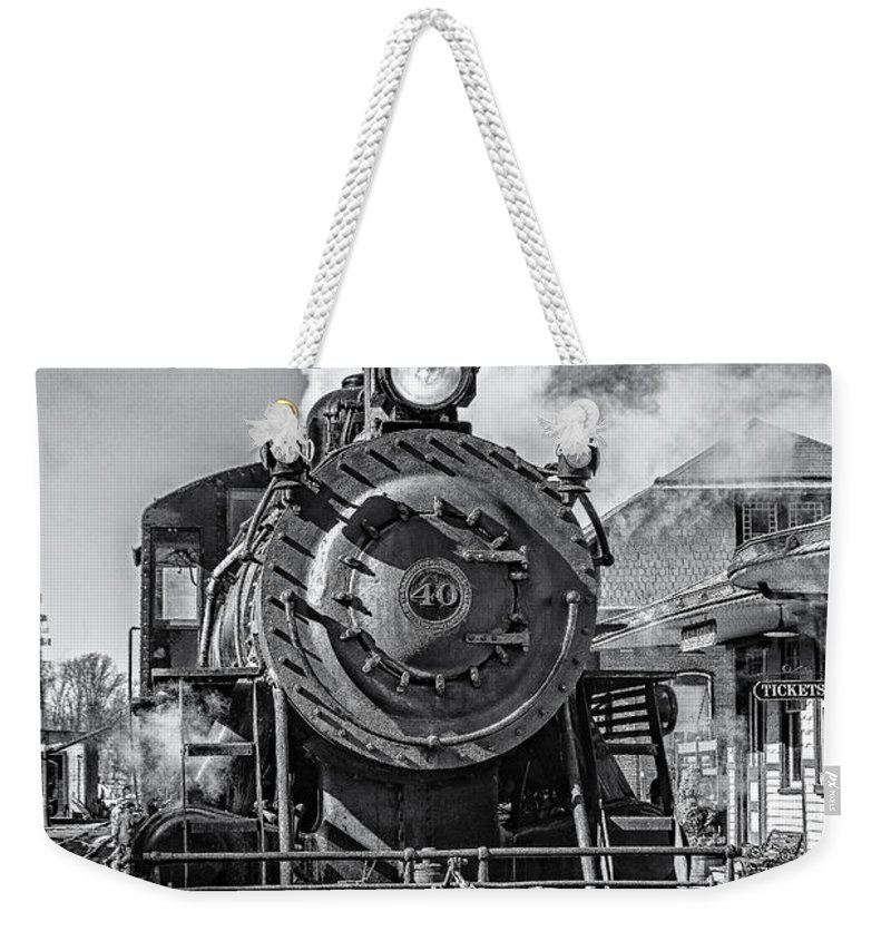 Steam Train Weekender Tote Bag featuring the photograph All Aboard Bw by Susan Candelario