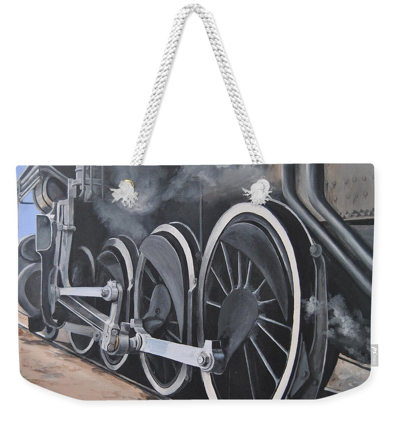 Train Weekender Tote Bag featuring the painting All Aboard by Glen Frear