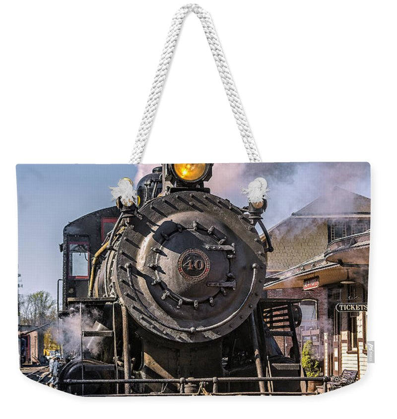 2-8-0 Weekender Tote Bag featuring the photograph All Aboard by Susan Candelario
