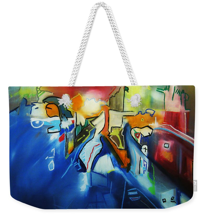 Colorful Weekender Tote Bag featuring the painting All At Once by Jeff Barrett