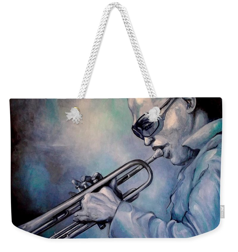 Glecee Limited Edition Print Of Miles Davis Weekender Tote Bag featuring the painting All Blue Print by Lloyd DeBerry
