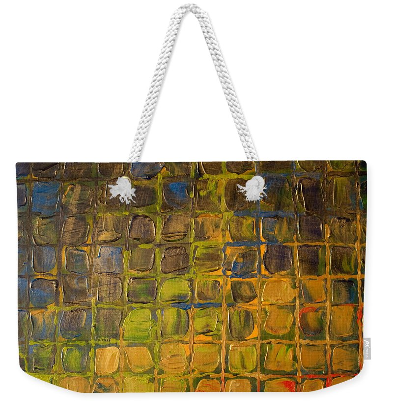Dimensional Weekender Tote Bag featuring the painting All Boxed In by Paulette B Wright