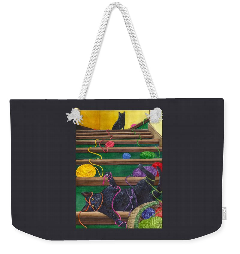 Cat Weekender Tote Bag featuring the painting All Caught Up by Catherine G McElroy