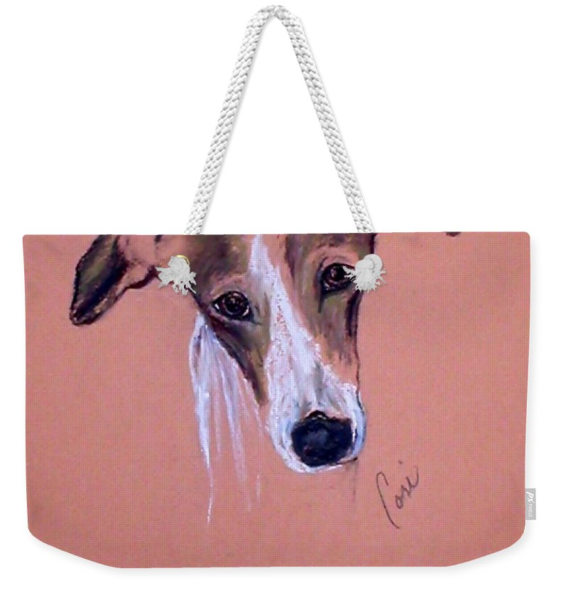 Whippet Weekender Tote Bag featuring the drawing All Ears by Cori Solomon