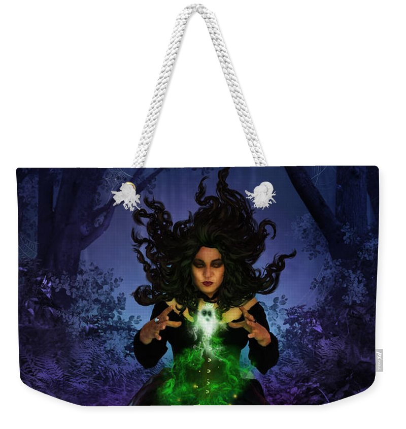 Fantasy Weekender Tote Bag featuring the digital art All Hallows Eve by Cassiopeia Art