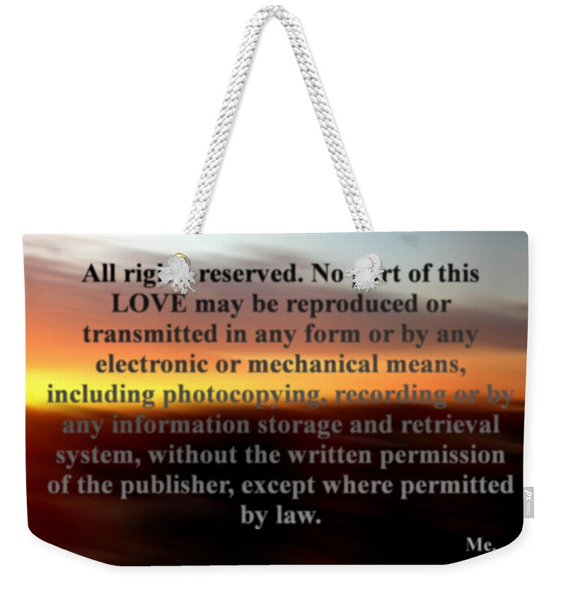 Sunset Weekender Tote Bag featuring the photograph All Rights Reserved by Marcello Cicchini