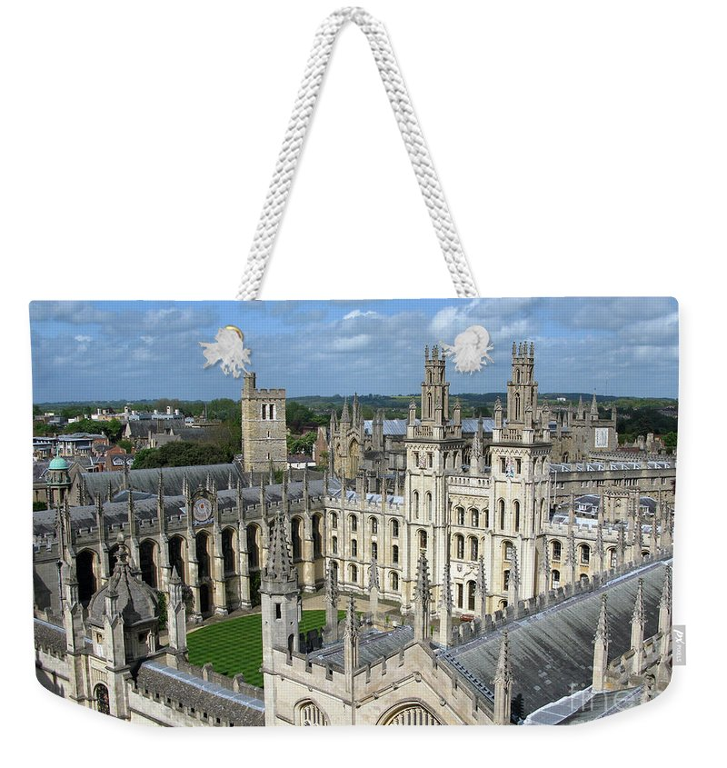 Oxford Weekender Tote Bag featuring the photograph All Souls College by Ann Horn