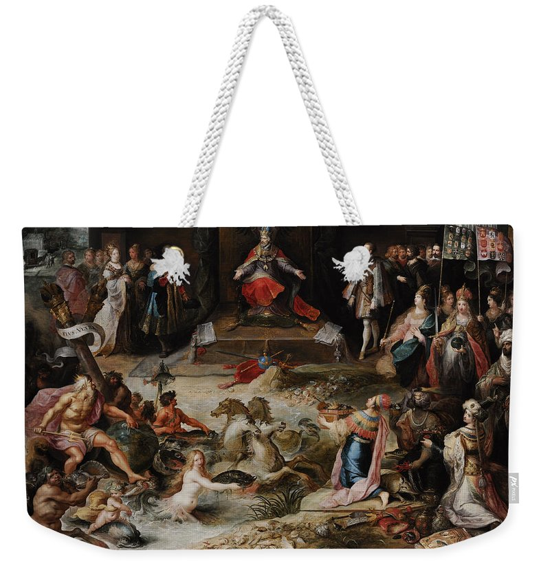 17th Century Weekender Tote Bag featuring the photograph Allegory Of The Abdication Of Emperor Charles V In Brussels, C.1630-1640, By Frans Francken by Bridgeman Images