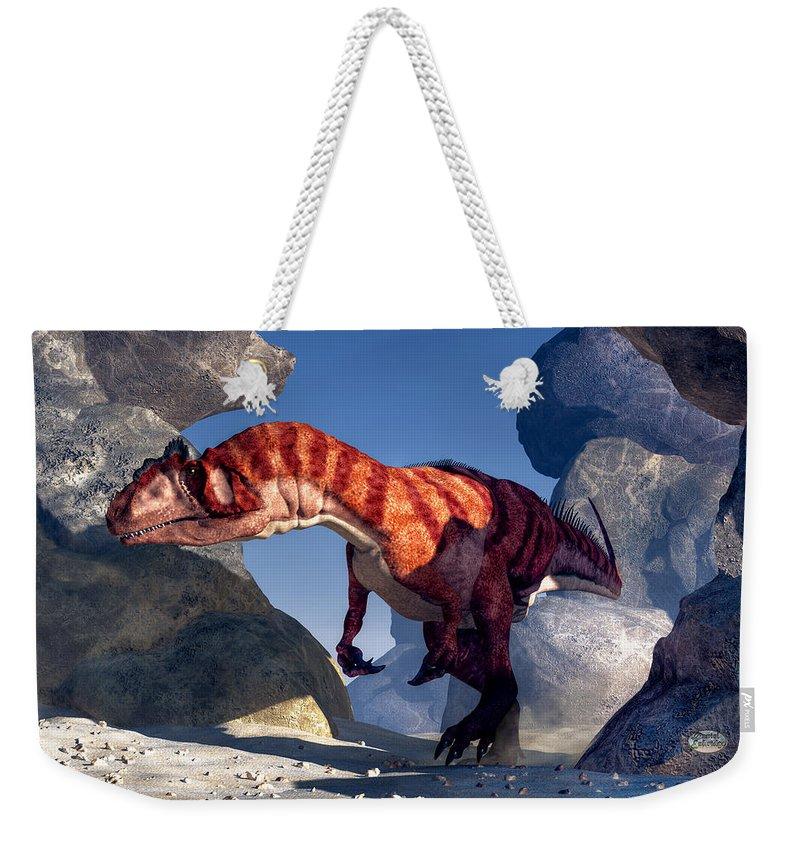 Allosaurus Weekender Tote Bag featuring the digital art Allosaurus by Daniel Eskridge