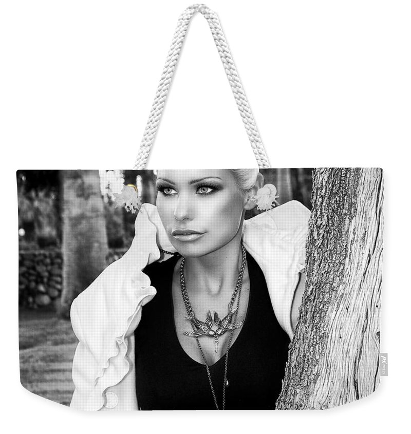 Blonde Weekender Tote Bag featuring the photograph Allure Bw Palm Springs by William Dey