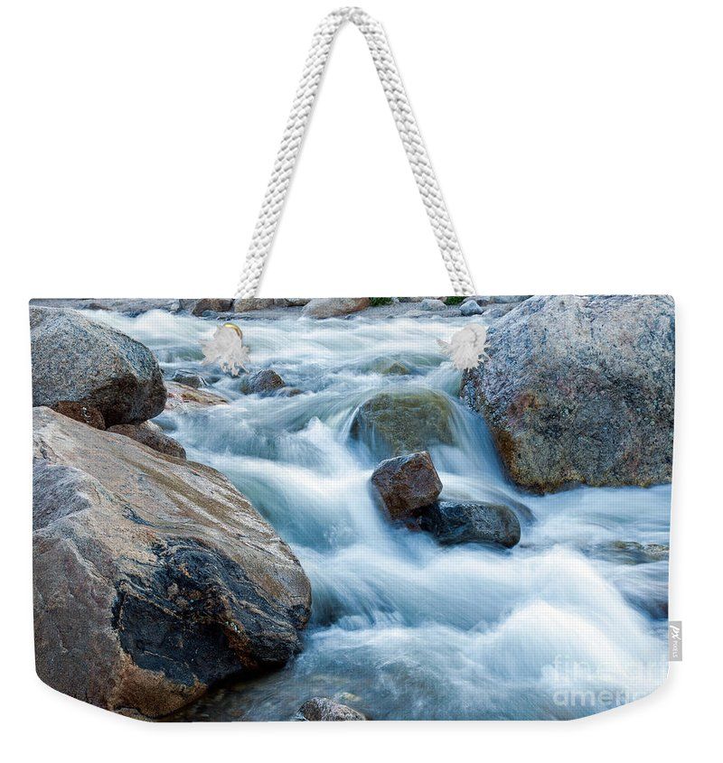 Alluvial Fan Falls Weekender Tote Bag featuring the photograph Alluvial Fan Falls On Roaring River Inrocky Mountain National Park by Fred Stearns