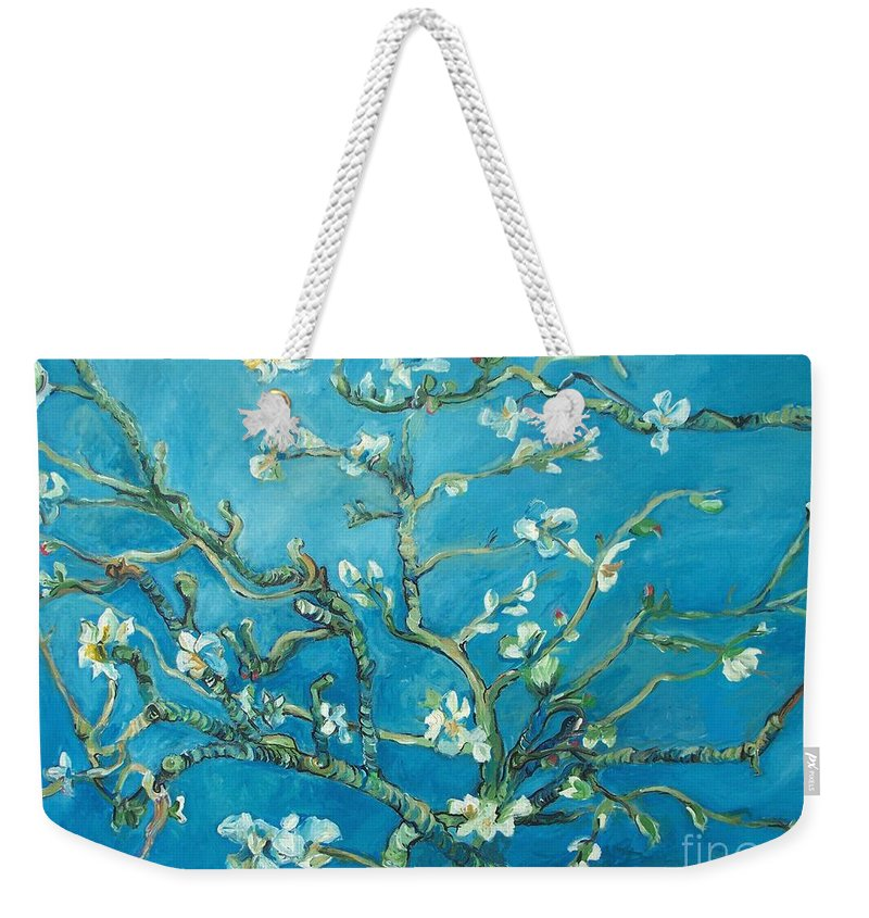 Almond Blossom Branches Weekender Tote Bag featuring the painting Almond Blossom Branches Print by Eric Schiabor