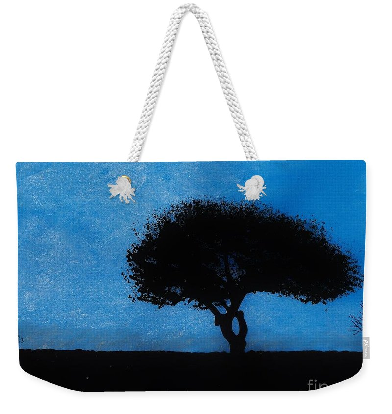 Sunset Weekender Tote Bag featuring the drawing Almost Dark by D Hackett