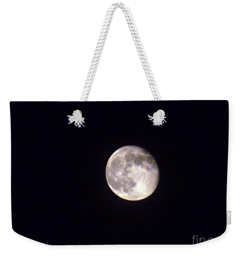 Moon Weekender Tote Bag featuring the photograph Almost Full by Jennifer Lavigne