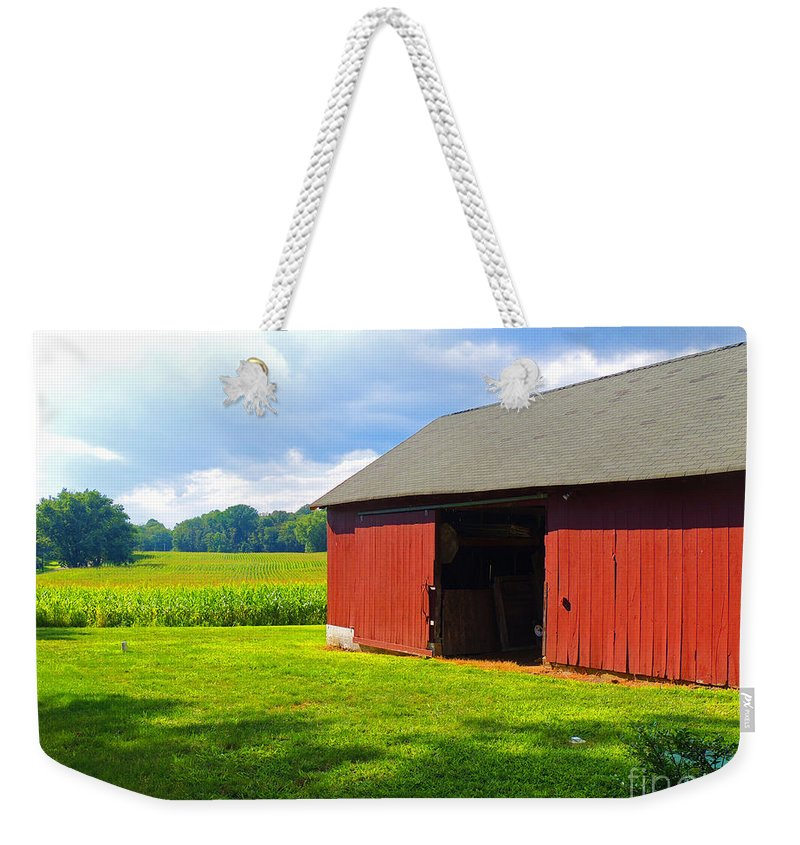 Red Barn Weekender Tote Bag featuring the photograph Almost Heaven by Marian DeSalvo-Rodgers