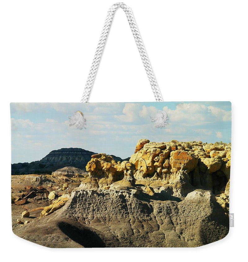 Red Rock Weekender Tote Bag featuring the photograph Almost Moonscape by Jeff Swan