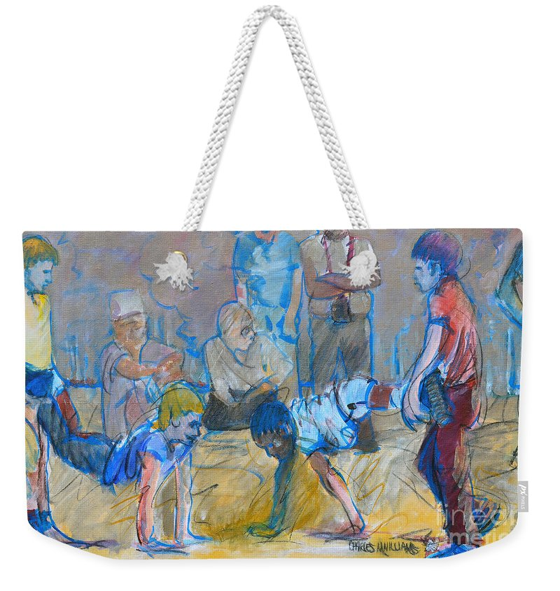 Boys Weekender Tote Bag featuring the painting Almost There by Charles M Williams