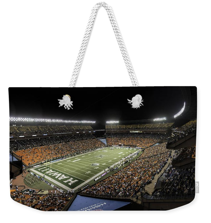 Hawaii Weekender Tote Bag featuring the photograph Aloha Stadium Night Game by Dan McManus