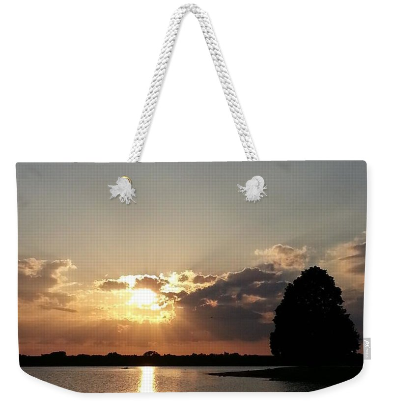 Lake Weekender Tote Bag featuring the photograph Alone by Caryl J Bohn