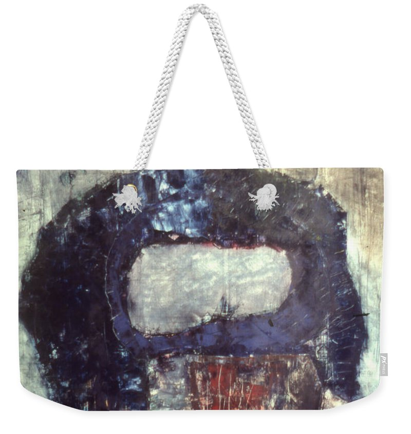 Oil Weekender Tote Bag featuring the mixed media Alone by Richard Baron