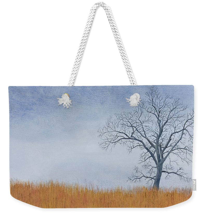 Cottonwood Tree Weekender Tote Bag featuring the painting Alone Winter by Garry McMichael