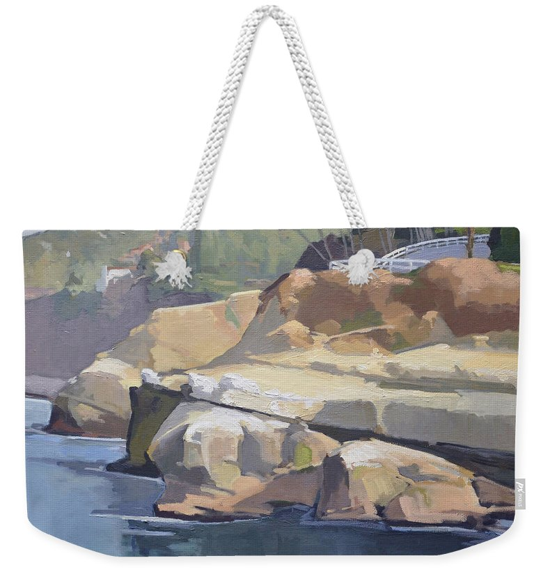Coast Walk Weekender Tote Bag featuring the painting Along Coast Walk In La Jolla, San Diego, California by Paul Strahm