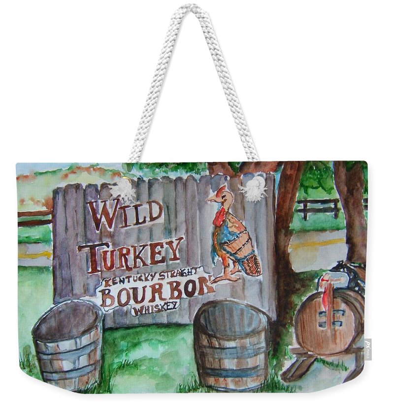 Bourbon Weekender Tote Bag featuring the painting Along The Bourbon Trail by Elaine Duras