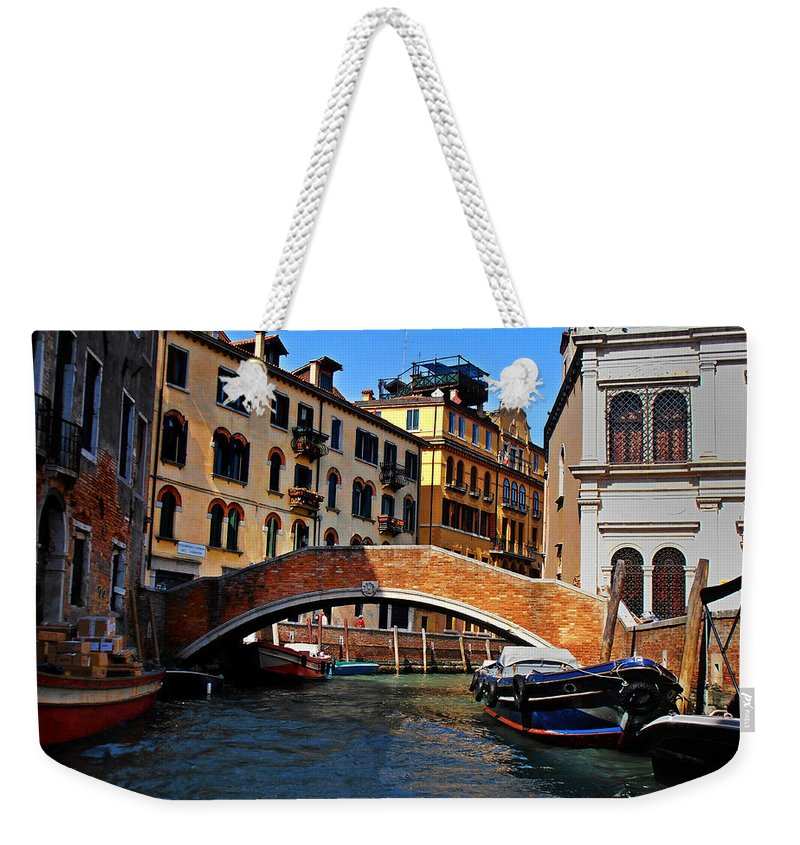 Along The Canals Of Venice Weekender Tote Bag featuring the photograph Along The Canals Of Venice by Bill Cannon