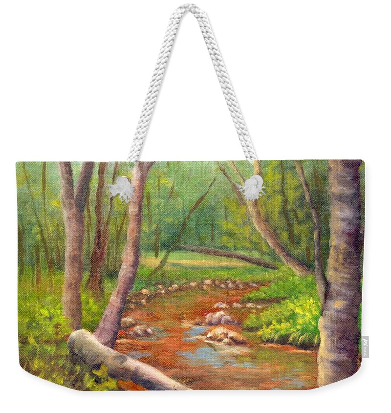 Ellis River Weekender Tote Bag featuring the painting Along the Ellis River in Jackson by Sharon E Allen