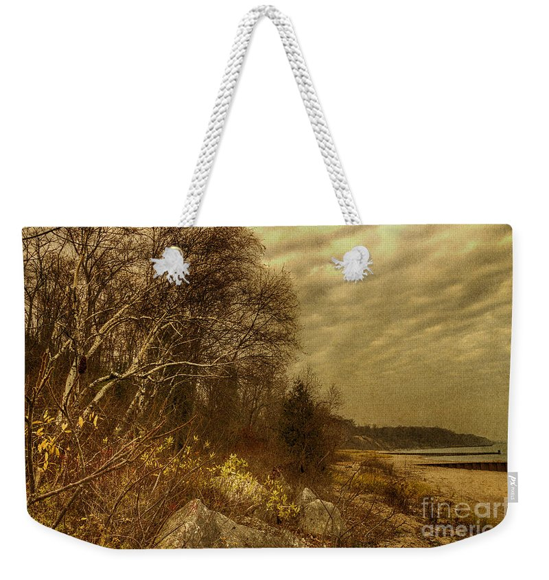 Water Weekender Tote Bag featuring the photograph Along The Shore by Margie Hurwich